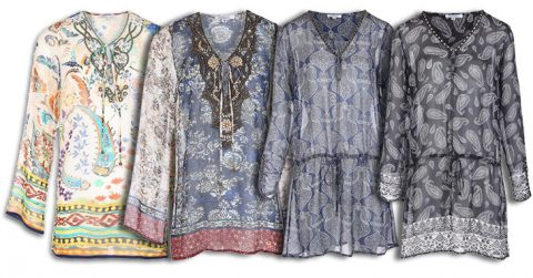 silk tunics and dresses